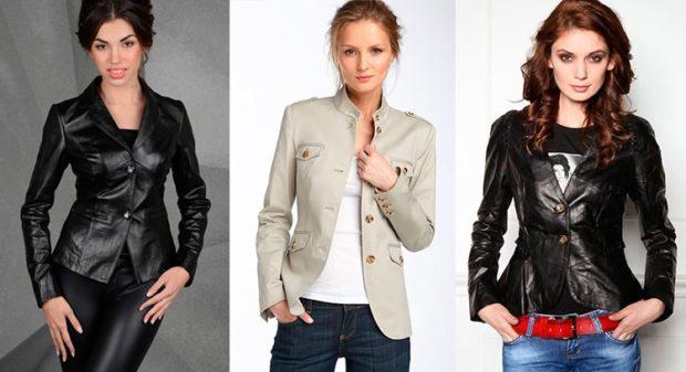 Модные пиджаки осень зима: кожаный черный белый