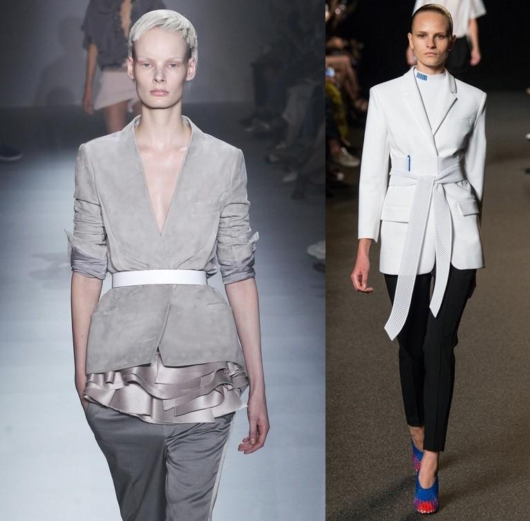 Модные пиджаки осень зима 2018 2019: с поясом серый белый удлиненные