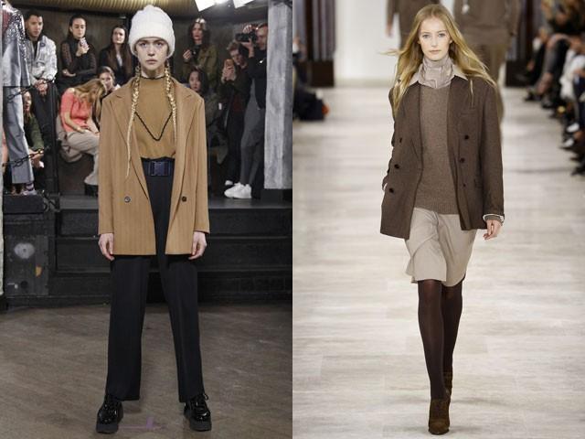 пиджаки осени и зимы 2020-2021: бежевый коричневый длинный