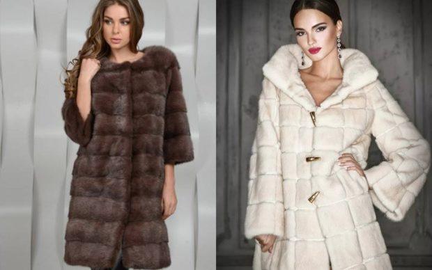 модные шубы 2019-2020: коричневая рукав 3/4 белая рукав колокол