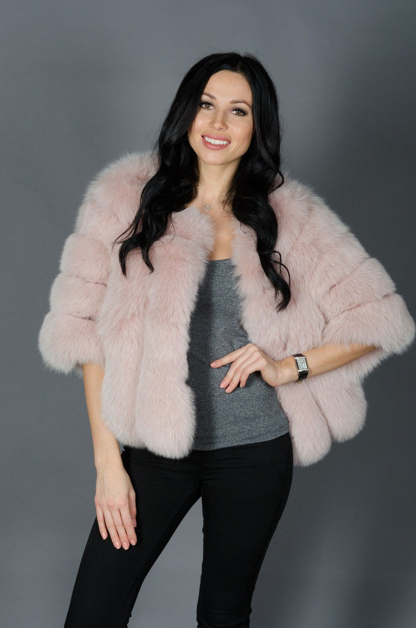 модная шуба 2018: короткая писец розовая
