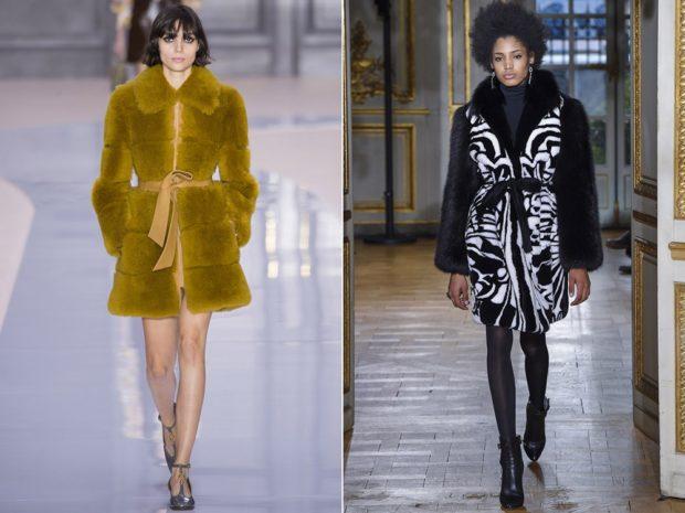 модные шубы 2019-2020: коричневая черная под пояс
