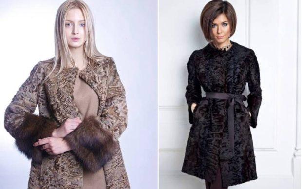 модные шубы 2019-2020: коричневая с манжетом черная с поясом