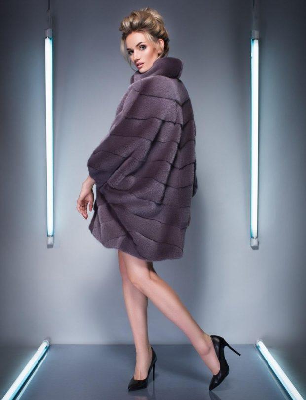 модные шубы 2019-2020: серая короткая широкая