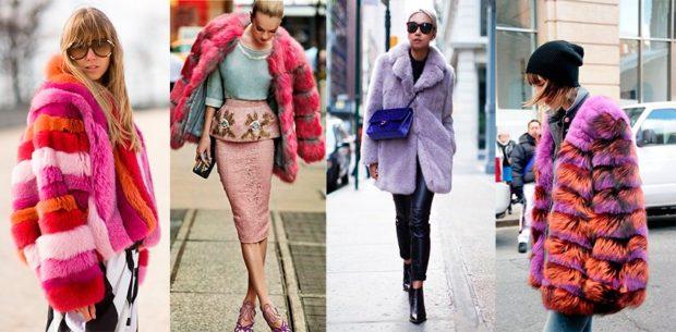 модные шубы 2018: цветные короткие
