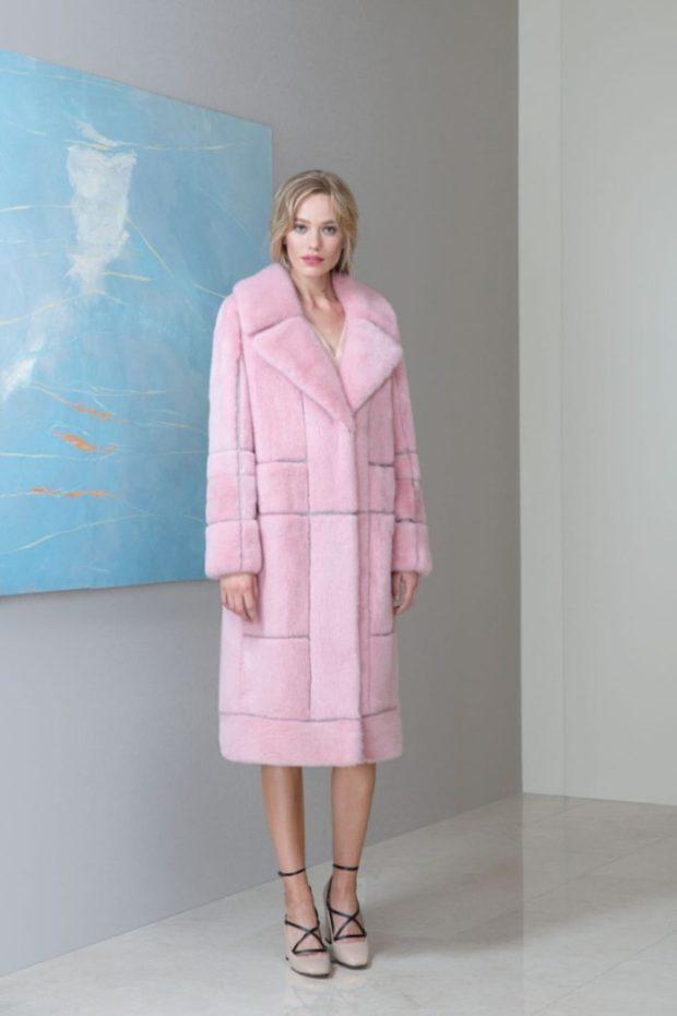 модные шубы 2018-2019: розовая раскладной воротник