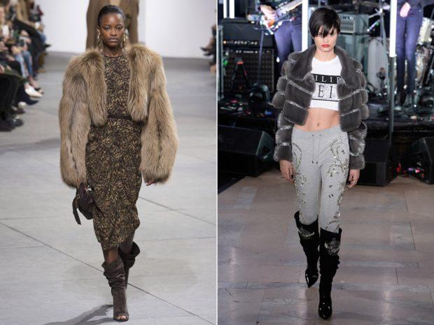 модные шубы 2018: полушубок коричневый серый с объемными рукавами
