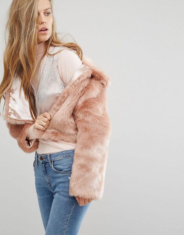 модные шубы 2018-2019: полушубок розовый