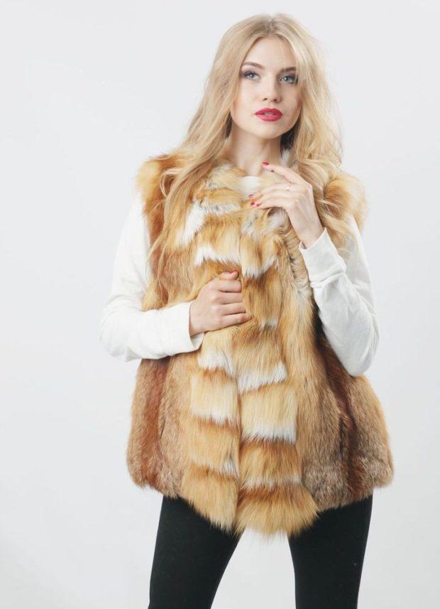 модные шубы 2019-2020: жилетка лиса короткая