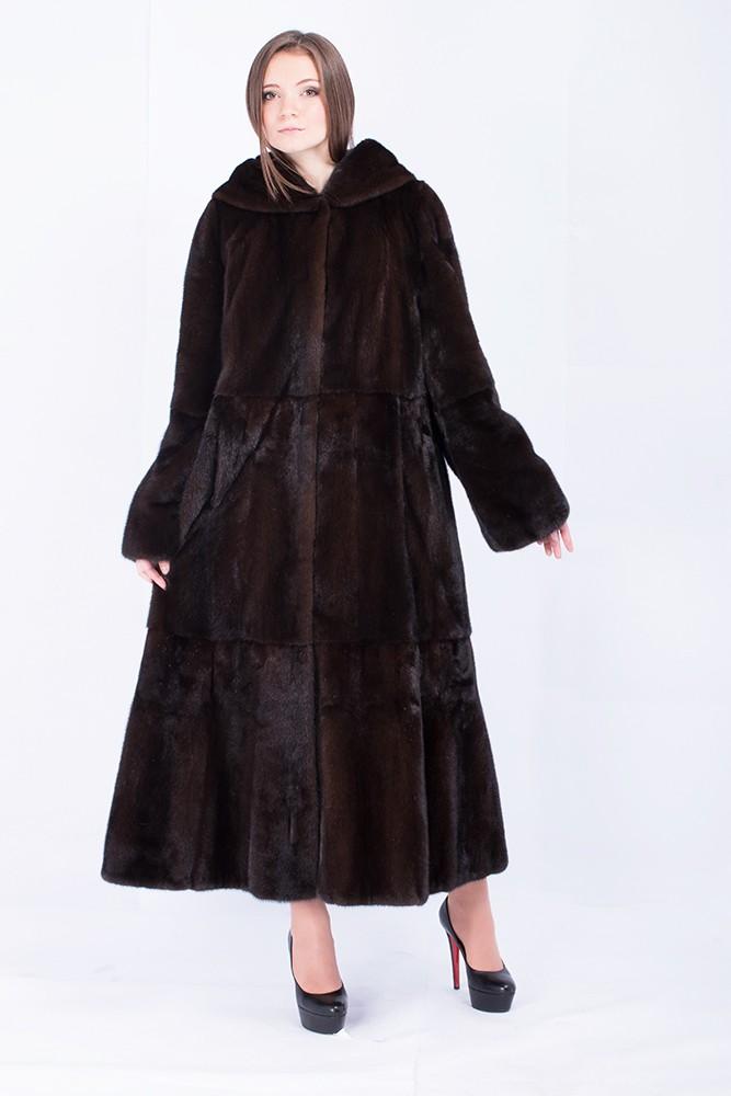 модные шубы 2018: норковая коричневая длинная