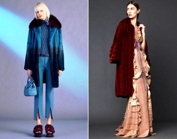 модные шубы 2019-2020: синяя миди красная ниже колена