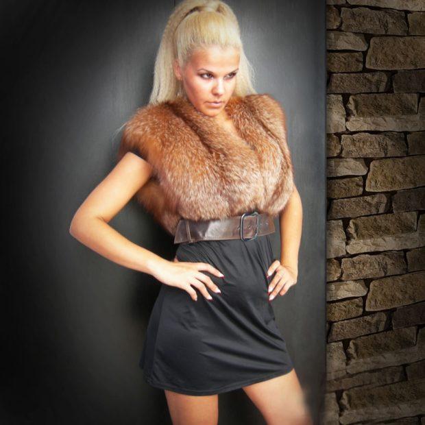 модная шуба 2018: болеро лиса без рукава
