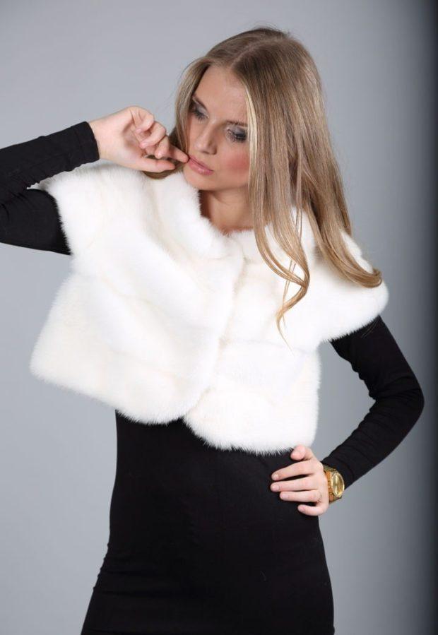 модная шуба: болеро белое с коротким рукавом