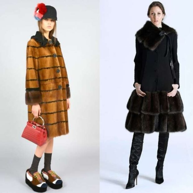 модные шубы 2019-2020: коричневая с манжетами и вторником черная с воланами
