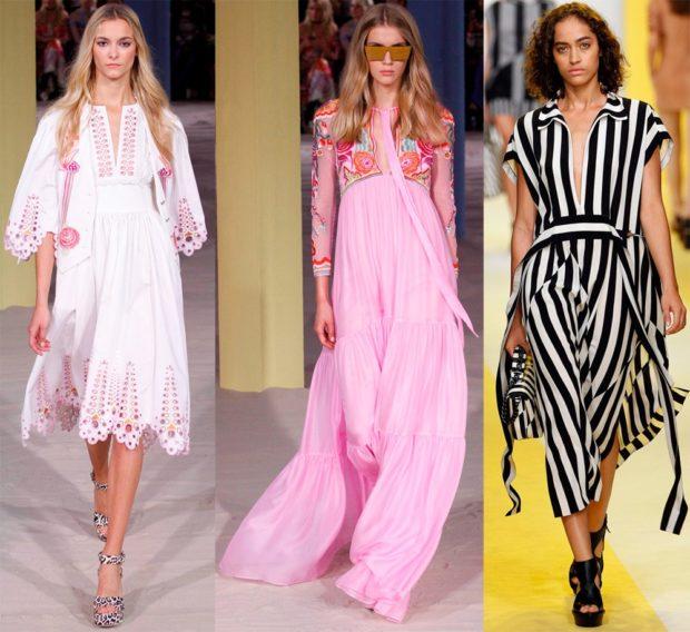 Платья весна лето 2018:летние платья, розового и черного цвета