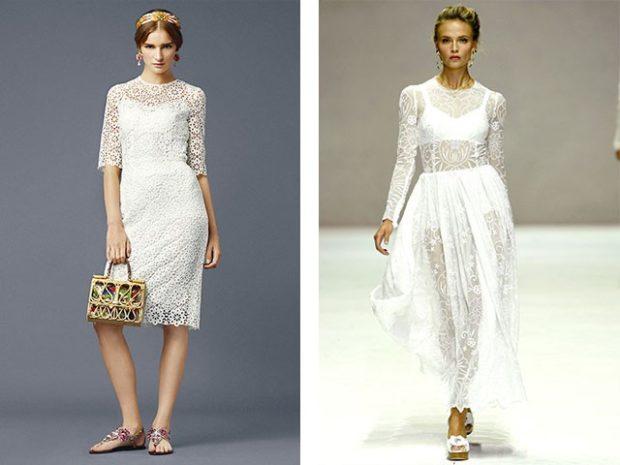 Цветовая палитра вплатьях весна лето 2018: гипюровые платья, белого цвета