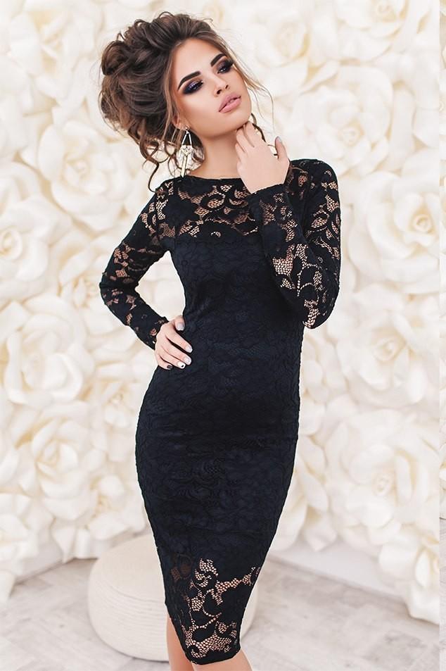 Цветовая палитра вплатьях весна лето 2018: классическое гипюровое платье, черного цвета