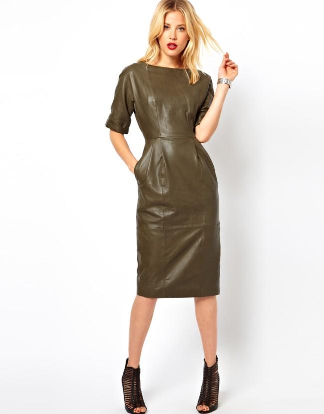 Цветовая палитра вплатьях весна лето 2018: кожаное платье, коричневого цвета
