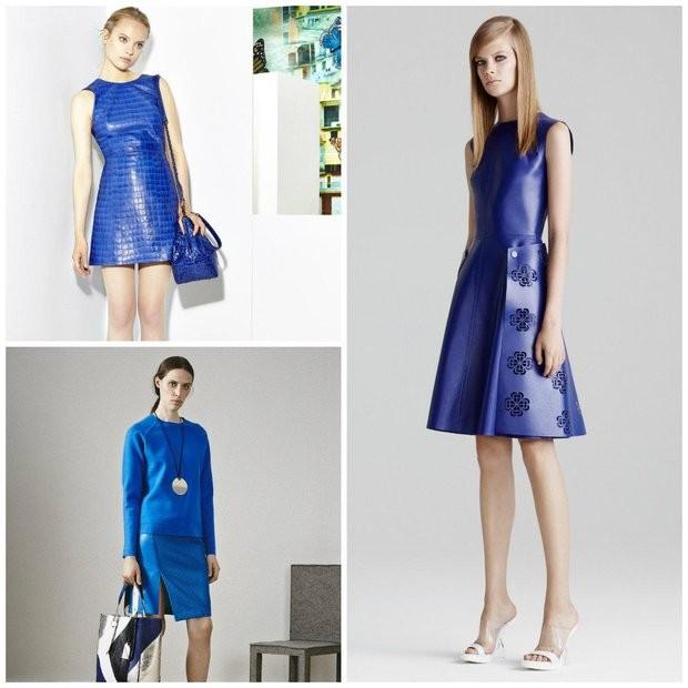 Цветовая палитра вплатьях весна лето 2018: кожаное платье, фиолетового и синего цвета