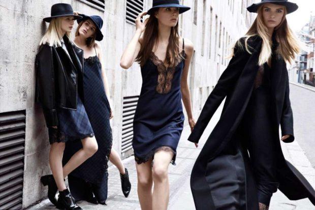 Платья вбельевом стиле весна лето 2018:платье с кружевной вставкой,черного и синего цвета
