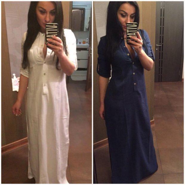 Платья вбельевом стиле весна лето 2018:платье длинное в пол платье-сорочка,белого и темно сиреневого цвета