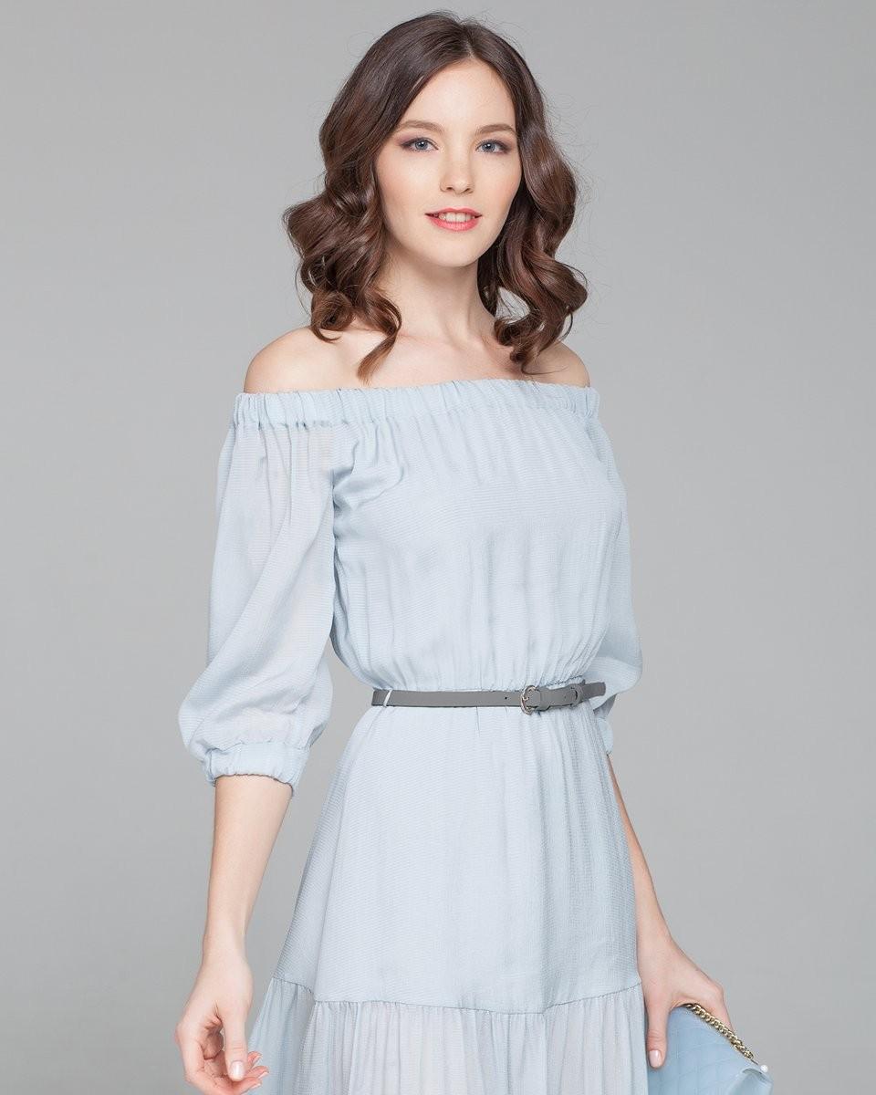 Платья вбельевом стиле весна лето 2018:платье из легкого материала , голубого цвета