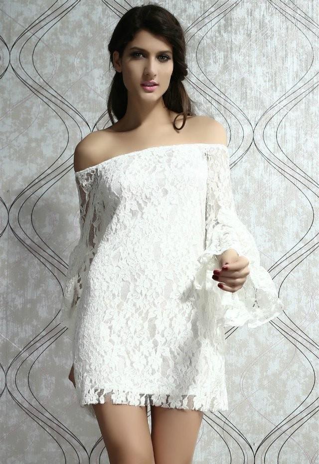 Платья ажурные весна лето 2018:ажурные платья ,с рукавом, белого цвета