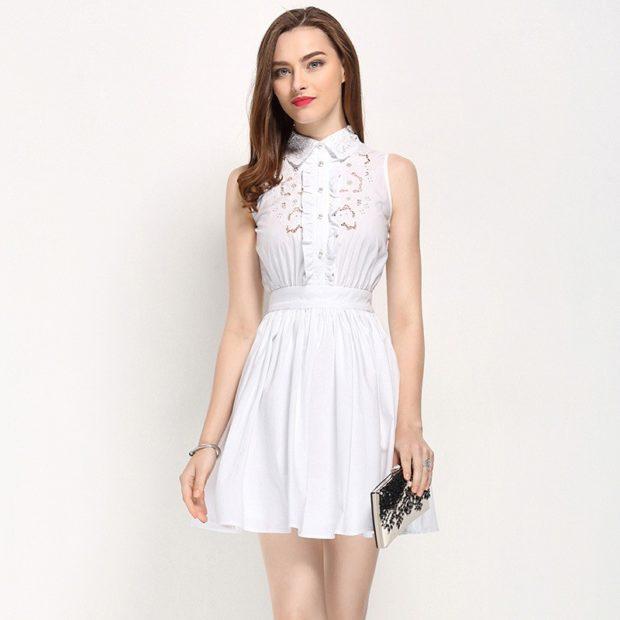 Платья ажурные весна лето 2018:ажурные платья ,с воротником, белого цвета