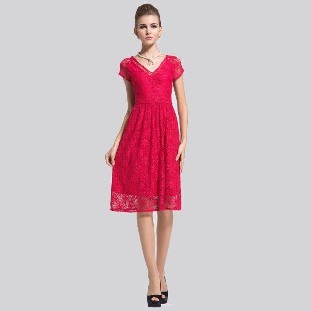 Платья ажурные весна лето 2018:ажурные платья , красного цвета