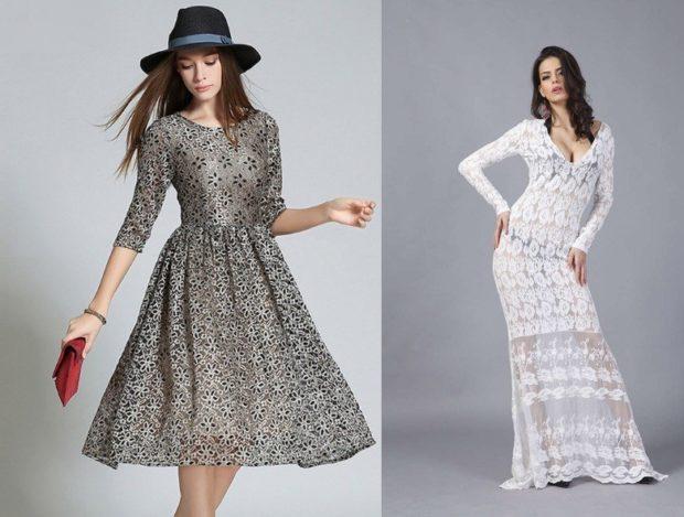 Платья ажурные весна лето 2018:ажурные платья , белого цвета и цвета металлик