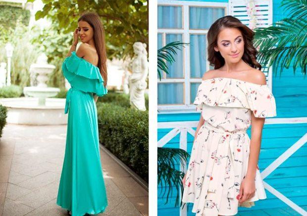Платья сбаской весна лето 2018: летнее платье , белого цвета и бирюзового цвета