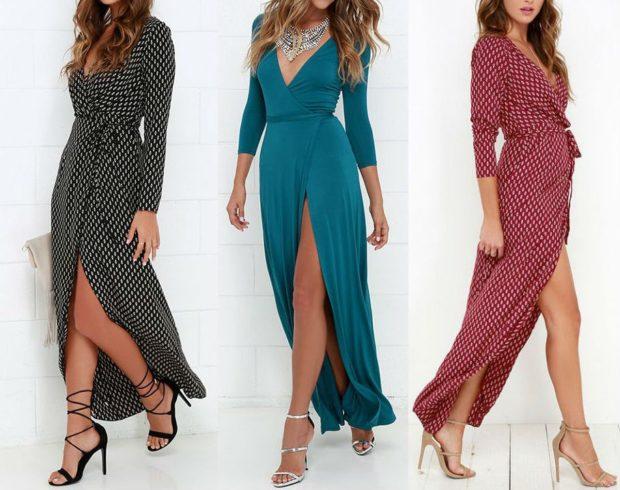 Платья сбаской весна лето 2018: платье с запахом , черного , зеленого, и красного цвета