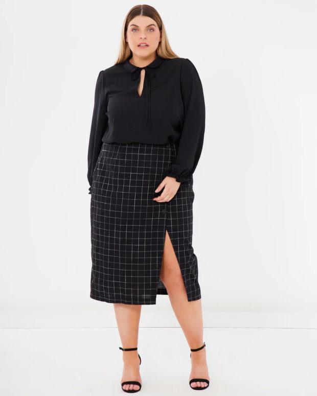 блузки для полных: черная длинный рукав