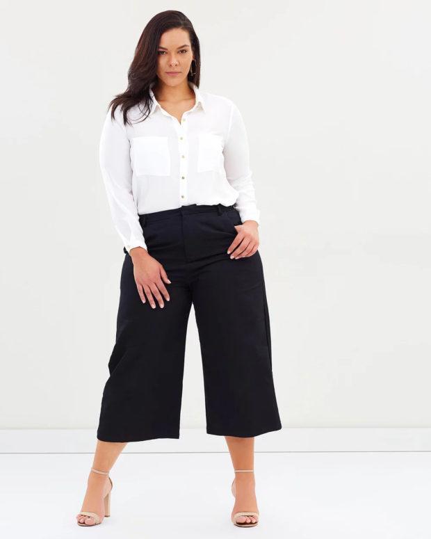 блузки для полных: белая длинный рукав