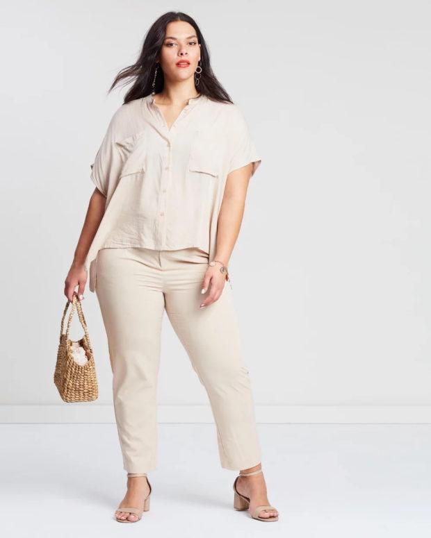 блузки для полных: кремовый цвет