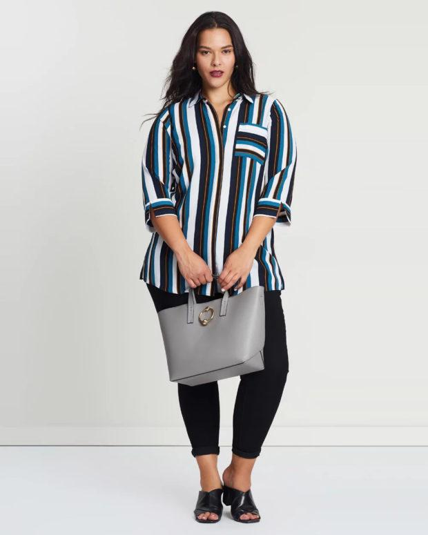 блузки для полных: полосатая