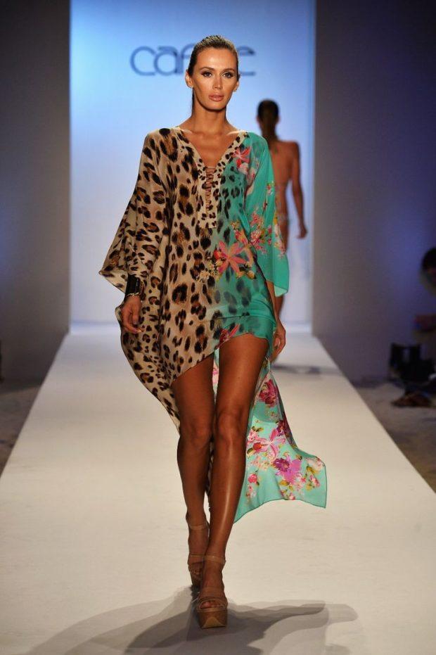 Пляжная мода 2019: накидка пляжная тигровая с бирюзовой
