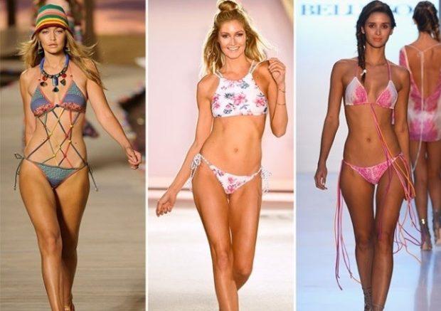Пляжная мода 2019 тенденции: бикини серое белое розовое