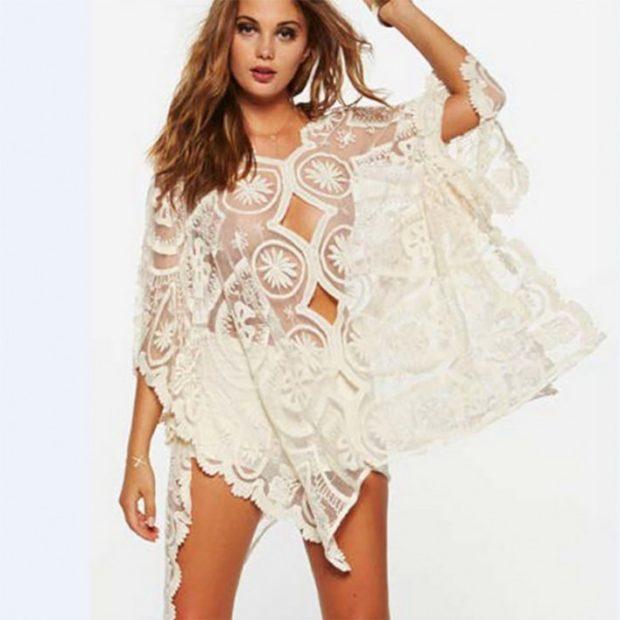 Пляжная мода 2019 тенденции: белое кружевное