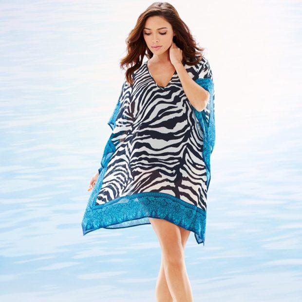 Пляжная мода 2019 тенденции: туника зебра тонкая