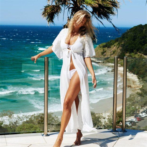 Пляжная мода 2019 тенденции: парео белое длинное