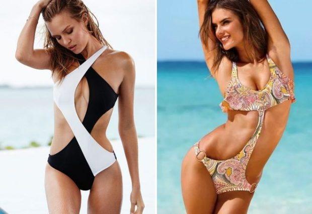 Пляжная мода 2019 тенденци: купальник монокини черное с белым цветное