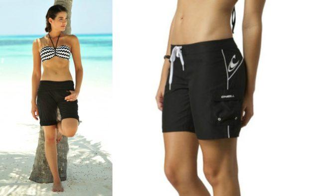 Пляжная мода 2019 тенденции: шорты черные с завязками