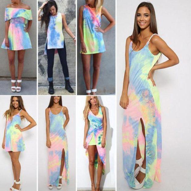 пляжная мода 2019: сарафан цветной длинный короткий