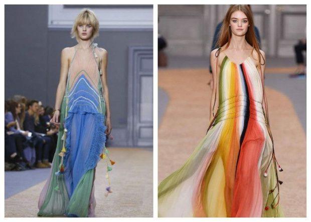 пляжная мода 2019: сарафаны шифоновые длинные цветные