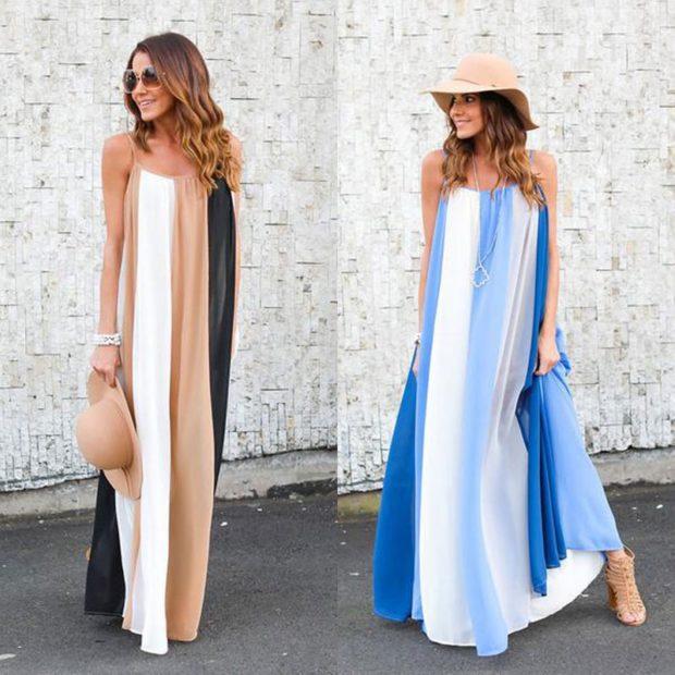 пляжная мода 2019: сарафан в пол в полоску