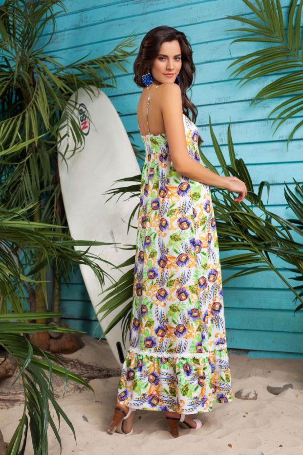 пляжная мода 2019: сарафан в цветы на лямках
