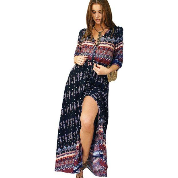 пляжная мода 2019: сарафан шифоновый рукав 3/4 темный