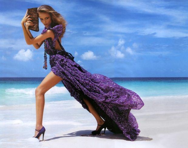 Пляжная мода 2019: сиреневый шифоновый