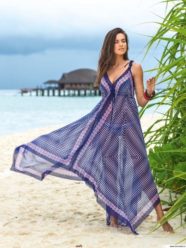 пляжная мода 2019: сарафан шифон синий асимметрия